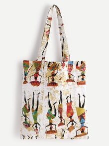 Character Print Linen Shopping Bag