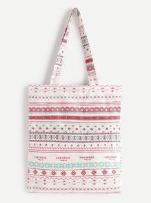 Geometric Print Linen Shopping Bag