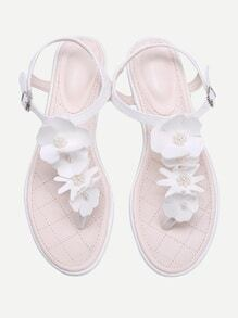 Flower And Faux Pearl PU Toe Post Sandals