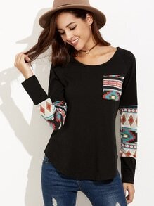 Black Curved Hem Pocket T-shirt With Tribal Print Detail