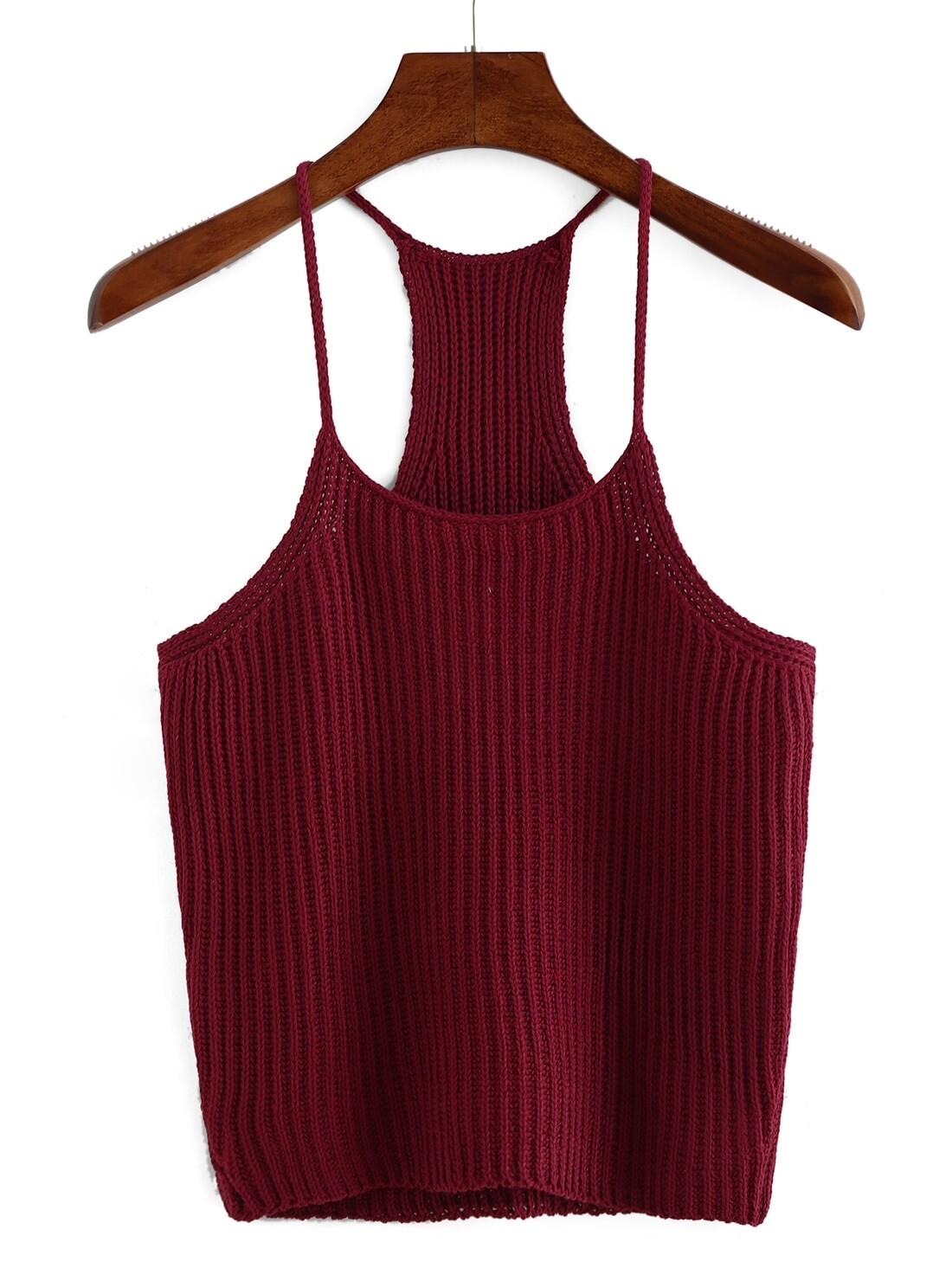 510d61dbab53a Burgundy Spaghetti Strap Knit Tank Top
