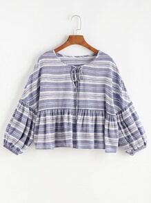 Striped Keyhole Tie Neck Lantern Sleeve Smock Top