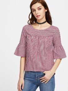 Flare Sleeve Buttoned Keyhole Back Curved Smock Top