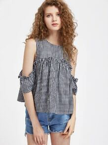 Frill Detail Cold Shoulder Drape Sleeve Checkered Trapeze Top