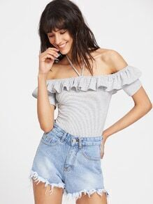 Striped Halter Off The Shoulder Ruffle Bodysuit