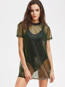 Contrast Ribbed Neck Metallic Sheer Mesh Dress