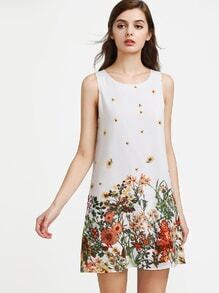 Botanical Print Buttoned Keyhole Back Sleeveless Dress