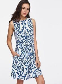 Damascus Print Pocket Side Swing Tank Dress