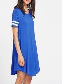 Striped Sleeve Curved Flowy Tee Dress