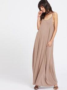 Double Scoop Neck Side Pocket Maxi Cami Dress