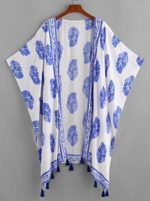 Tassel Trim Allover Print Batwing Kimono