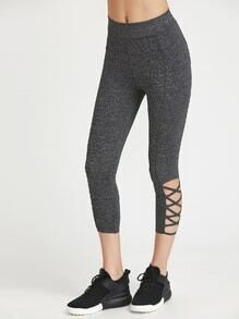Marled Knit Cutout Crisscross Hem Leggings