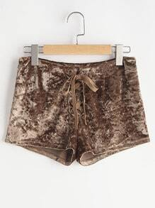 Side Zip Lace Up Crushed Velvet Shorts