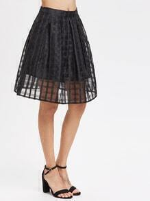 Box Pleated Grid Mesh Skirt