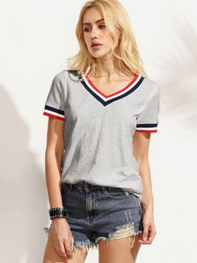 Striped Trim V Neck Tee