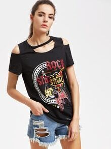 Graphic Print Distressed Open Shoulder Tee