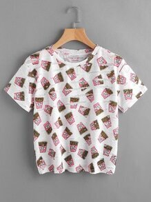 Potato Chips Print Destroyed Tee
