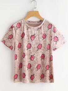 Allover Popsicle Print Velvet Tee