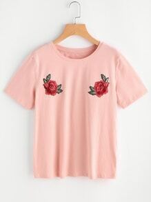 Embroidered Rose Applique Tee