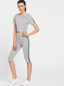 Contrast Binding Crop T-shirt And Leggings Co-Ord
