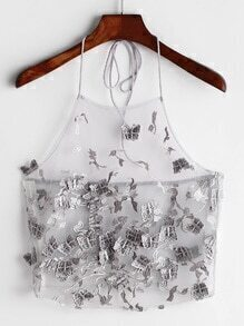 Butterfly Applique Embroidered Mesh Halter Top
