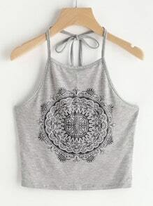 Tattoo Print Crop Halter Top
