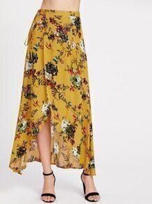 Floral Print Warp Maxi Skirt