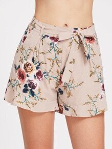 Calico Print Self Tie Shorts
