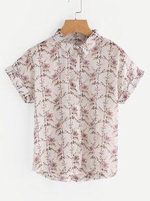 Floral Print Cuffed Chiffon Shirt