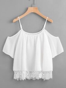 Open Shoulder Lace Hem Blouse