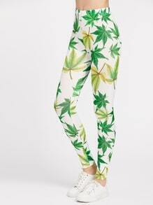 Maple Leaf Print Bodycon Leggings