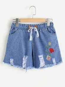 Floral Embroidered Drawstring Waist Fray Hem Ripped Shorts