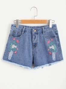 Floral Embroidered Fray Hem Distressed Shorts