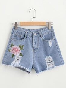 Floral Embroidered Fray Hem Ripped Shorts