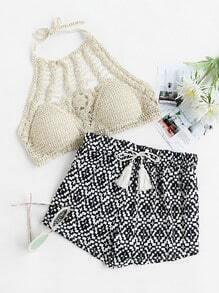 Printed Tassel Drawstring Waist Shorts