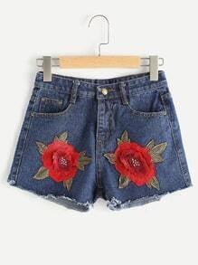 Rose Embroidered Patch Fray Hem Shorts