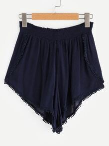Shirred Pom Pom Trim Pleated Shorts