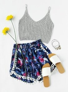 Floral Print Pom Pom Trim Shirred Shorts