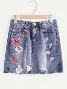 Floral Embroidered Fray Hem Distressed Skirt
