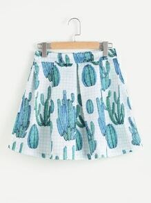 Cactus Print Random Checked Zip Back Pleated Skirt