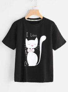 Camiseta estampada de gato y letras