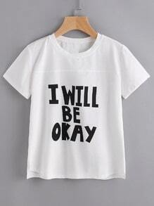 Slogan Print Raw Cut Tee