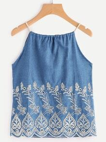 Embroidered Drawstring Back Denim Cami Top