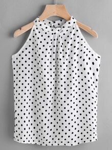 Texture Dots Keyhole Back Top