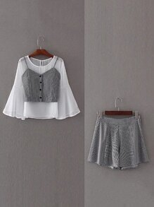 Bell Sleeve 2 In 1 Top With Shorts