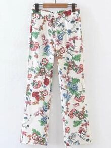 Flower Print Full Length Pants