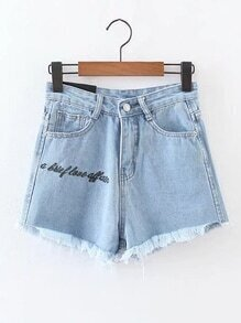 Raw Hem Letter Embroidered Denim Shorts