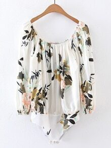 Boat Neckline Floral Print Bodysuit