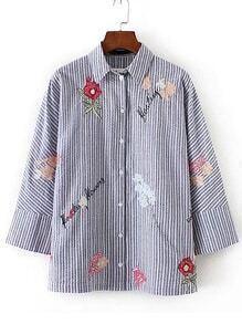 Blusa suelta bordada contraste de rayas