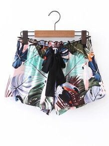Elastic Waist Shorts With Tie Detail